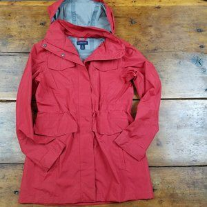 Cute Red Lands' End Medium Length Rain Jacket